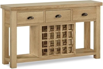 Corndell Fairford Oak Large Console Table with Wine Rack