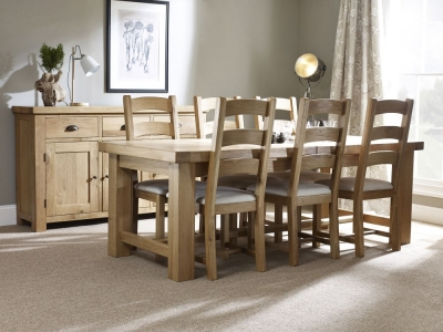 Corndell Fairford Oak Large Extending Dining Set with 6 Fabric Seat Chairs