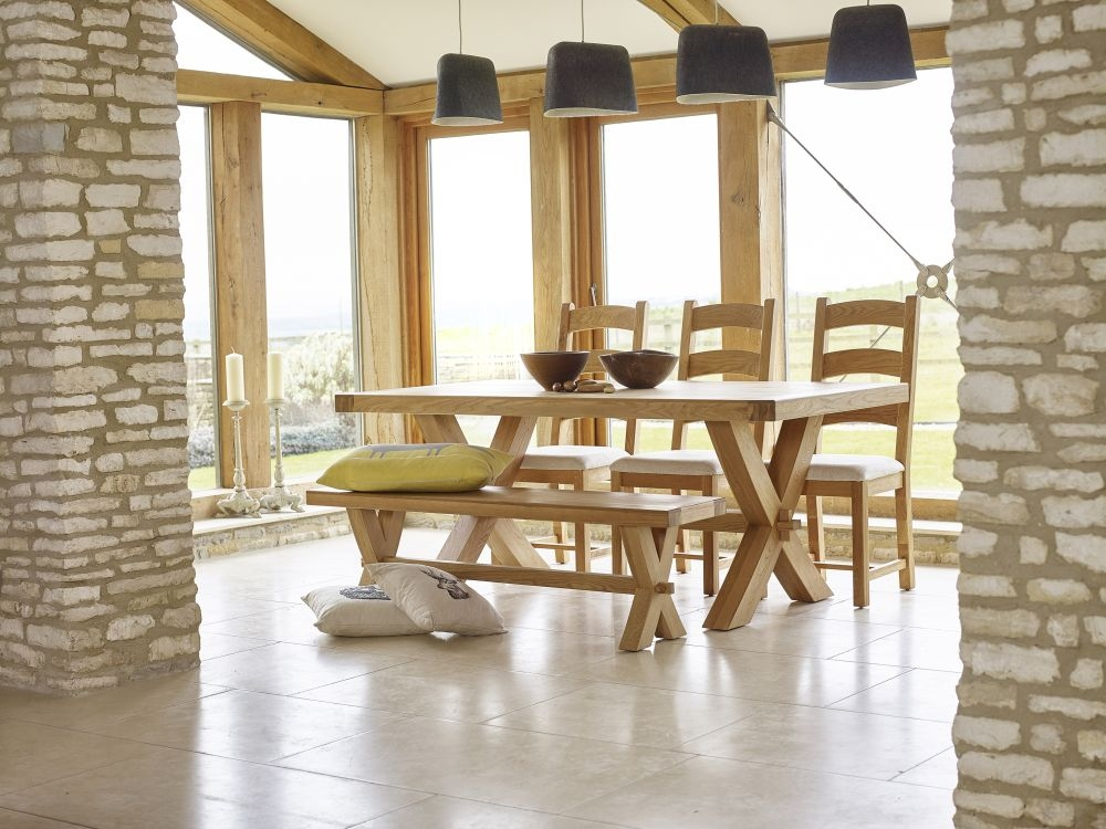 Corndell Fairford Oak Cross Legs Dining Set with 2 Chair and Bench