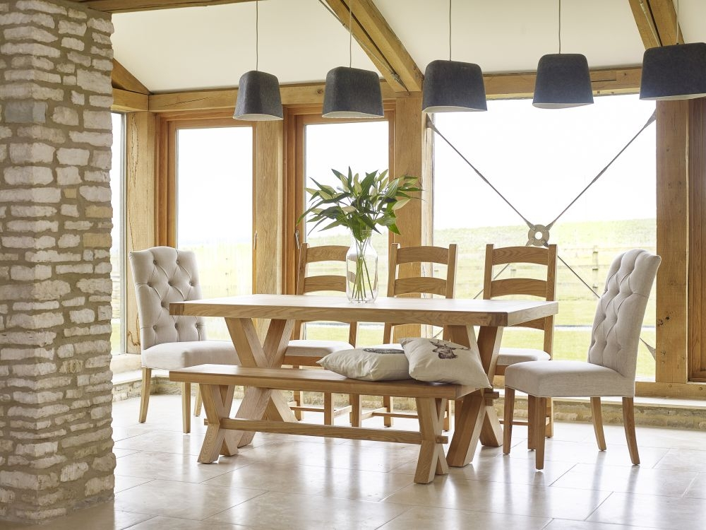 Corndell Fairford Oak Dining Table with 2 Chalsea Chairs and Bench