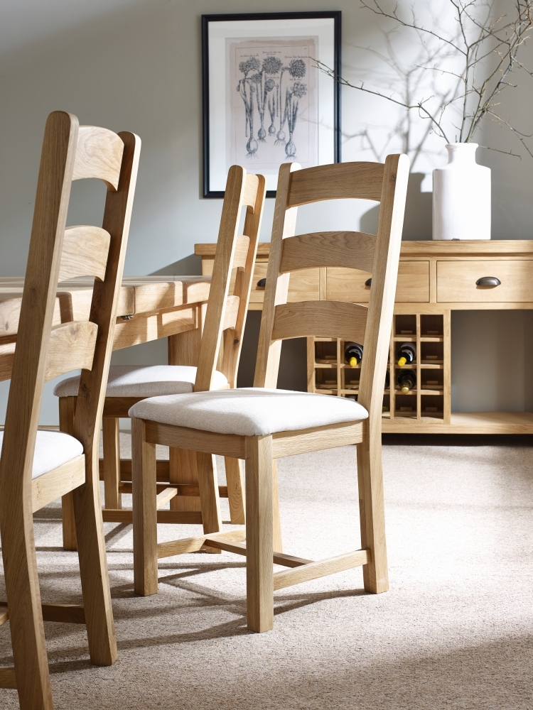 Corndell Fairford Oak Dining Chair with Fabric Seat