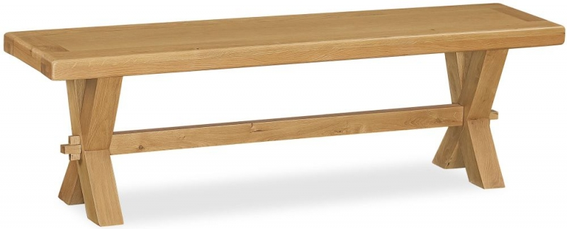 Corndell Fairford Oak Bench with Cross Legs