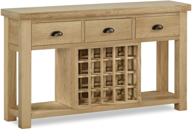 Corndell Fairford Oak Console Table with Wine Rack