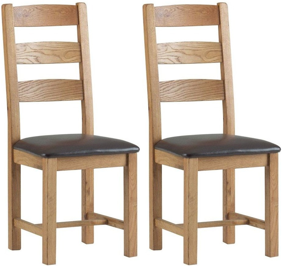 Corndell Lovell Oak Slatted Dining Chair with Faux Leather Seat (Pair)