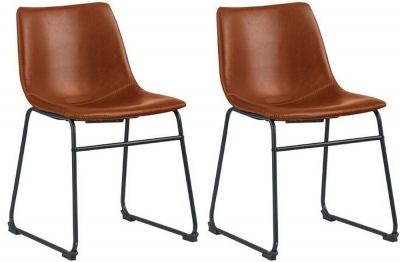 Corndell Torque Brown Faux Leather Dining Chair (Pair)