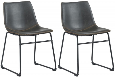 Corndell Torque Grey Faux Leather Dining Chair (Pair)