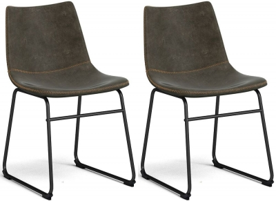 Corndell Torque Tan Faux Leather Dining Chair (Pair)