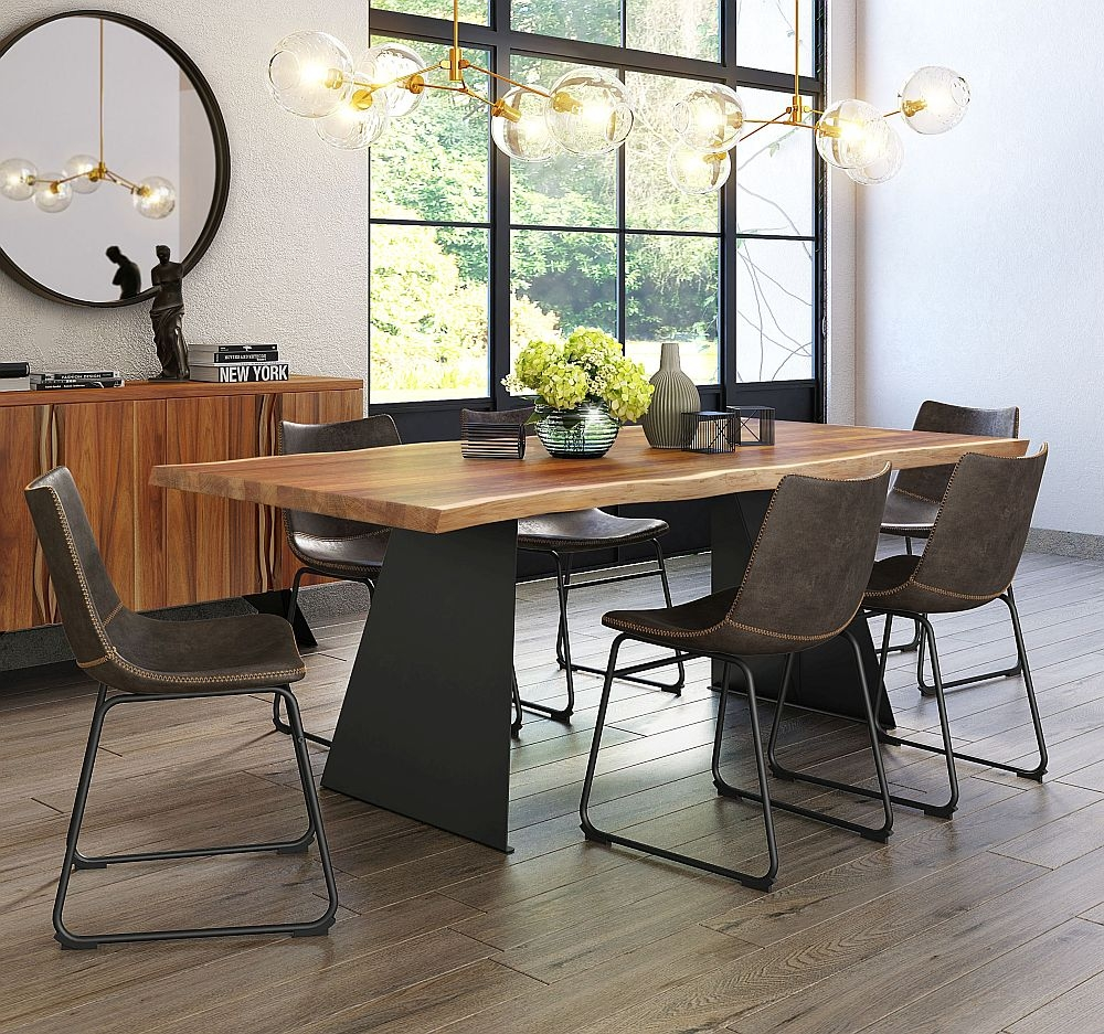 Corndell Milan Dining Table and 6 Torque Tan Faux Leather Chair - Wood and Metal