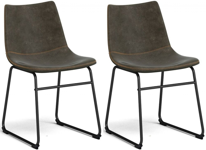Corndell Torque Dining Chair - Tan Faux Leather and Metal (Pair)