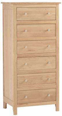 Corndell Nimbus Satin Oak 6 Drawer Chest