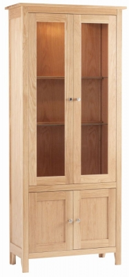 Corndell Nimbus Satin Oak Glazed Display Cabinet