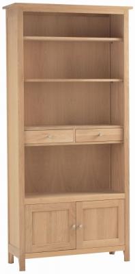 Corndell Nimbus Satin Oak 2 Door Large Bookcase