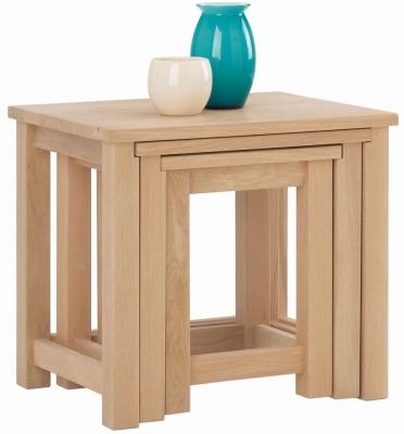 Corndell Nimbus Satin Oak Nest of 3 Tables