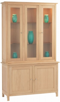 Corndell Nimbus Satin Oak Large Display Cabinet