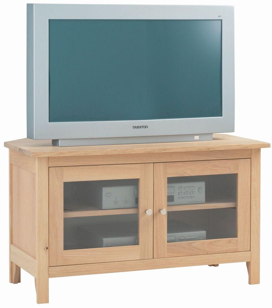 Corndell Nimbus Satin Oak Corner Glazed TV Cabinet
