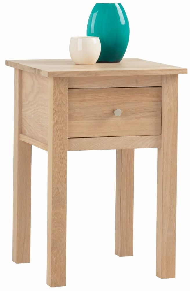 Corndell Nimbus Satin Oak 1 Drawer Lamp Table