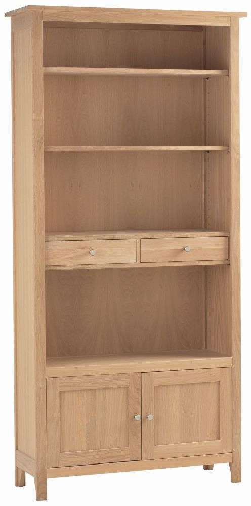 Corndell Nimbus Satin Oak 2 Door Large Bookcase