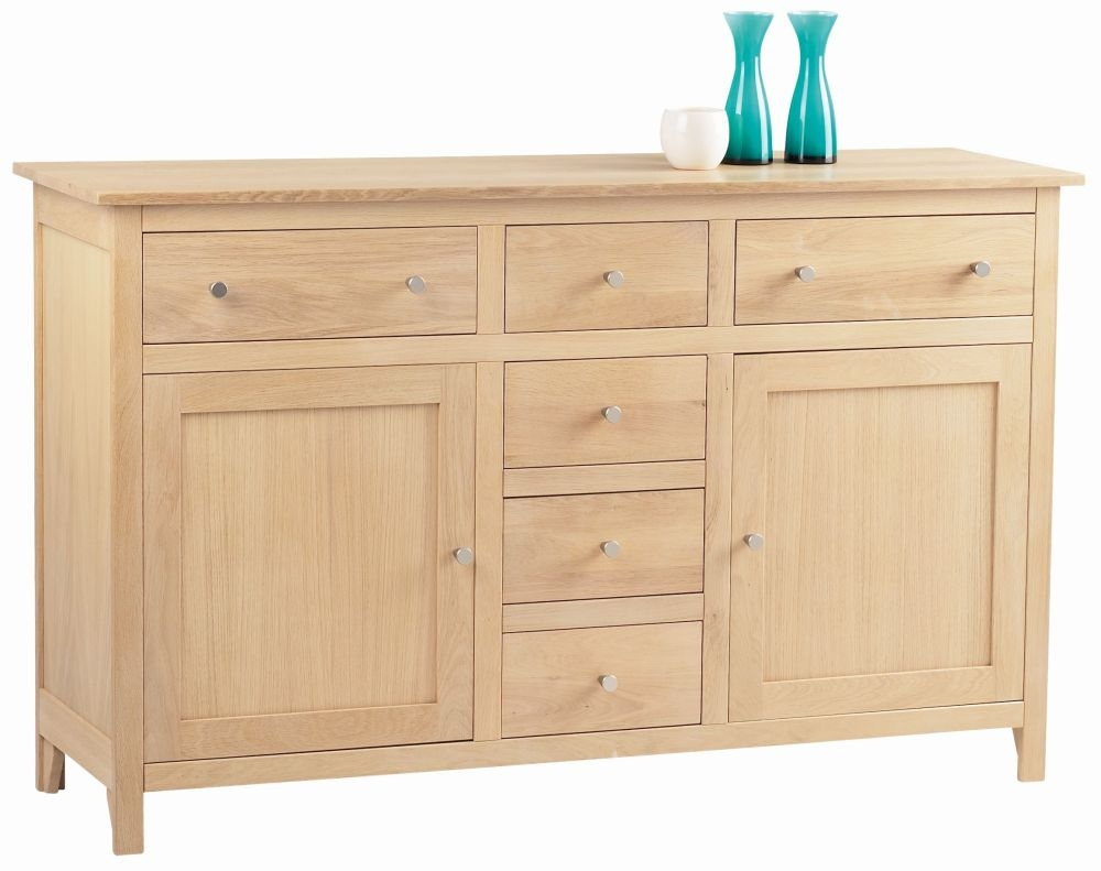 Corndell Nimbus Satin Oak 2 Door 6 Drawer Large Sideboard