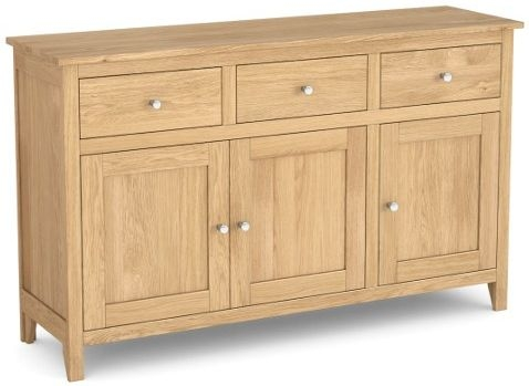 Corndell Nimbus Satin Oak 3 Door 3 Drawer Large Sideboard