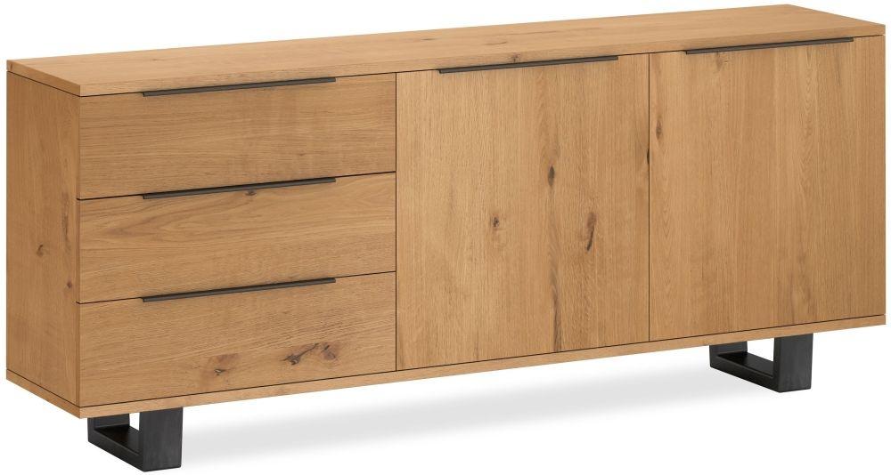 Corndell Oak Mill Wide Sideboard - Waxed Oak and Metal