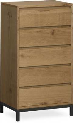 Corndell Oak Mill 5 Drawer Tall Chest