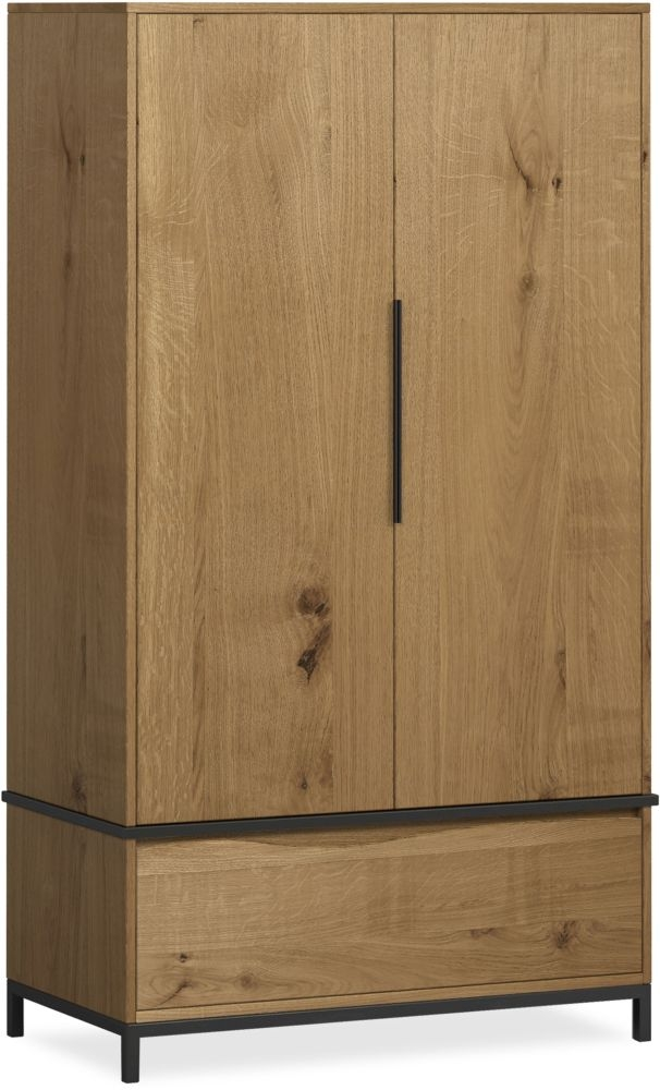 Corndell Oak Mill 2 Door Wardrobe - Oak and Metal