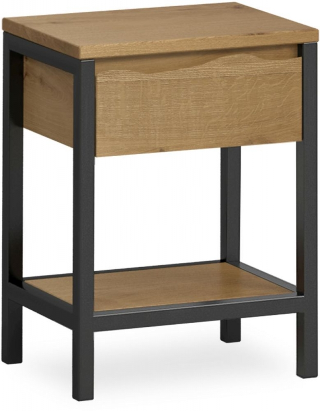 Corndell Oak Mill 1 Drawer Night Stand - Oak and Metal