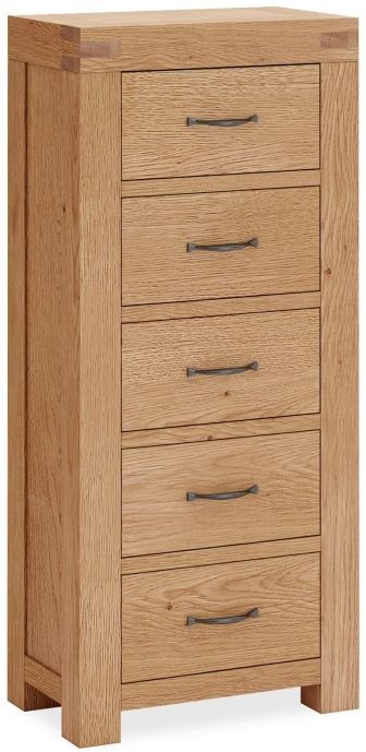 Corndell Sherwood Rustic Oak 5 Drawer Tall Chest