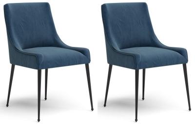 Corndell St James Arthur Navy Fabric Dining Chair (Pair)