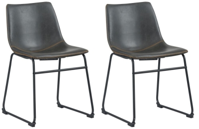 Corndell St James Jack Grey Leather Dining Chair (Pair)