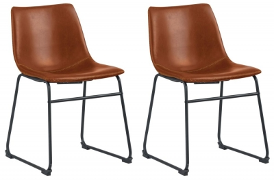 Corndell St James Jack Tan Leather Dining Chair (Pair)