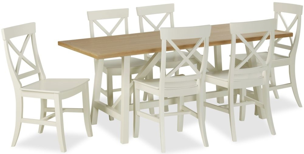 Corndell Tetbury Painted Trestle Dining Set - 180cm with 6 Chairs