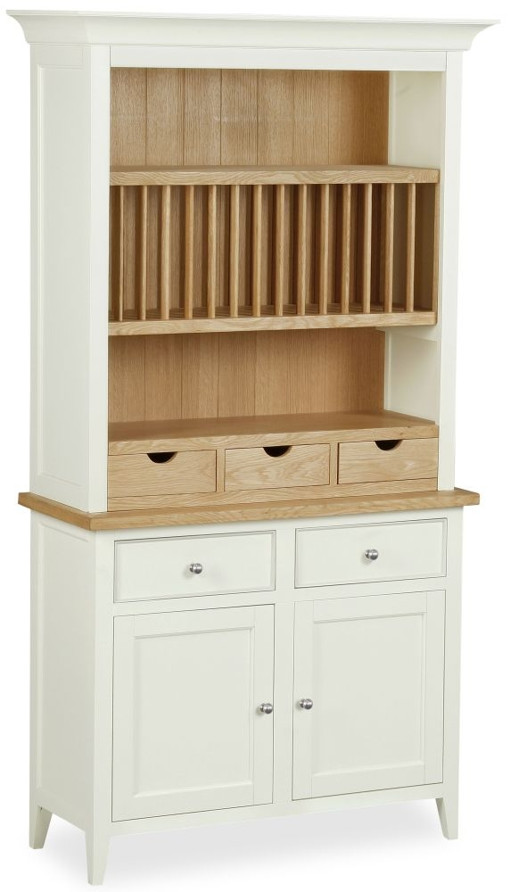 Corndell Tetbury Painted 2 Door 5 Drawer Narrow Sideboard with Open Hutch