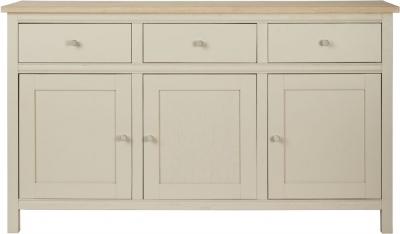 Corndell Woodstock 3 Door 3 Drawer Large Sideboard - Oak and Painted