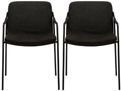 Dan Form Boto Crow Black Fabric Dining Chair (Pair)