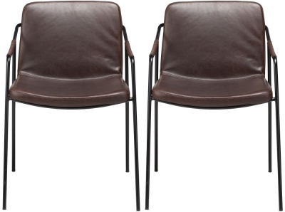 Dan Form Boto Vintage Cocoa Faux Leather Dining Chair with Black Legs (Pair)