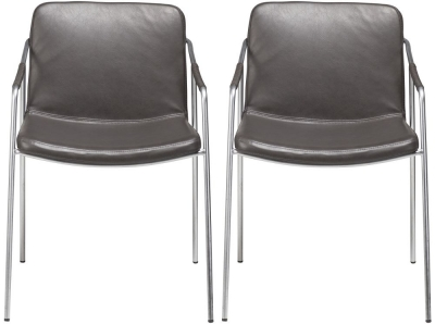 Dan Form Boto Vintage Grey Faux Leather Dining Chair with Silver Legs (Pair)