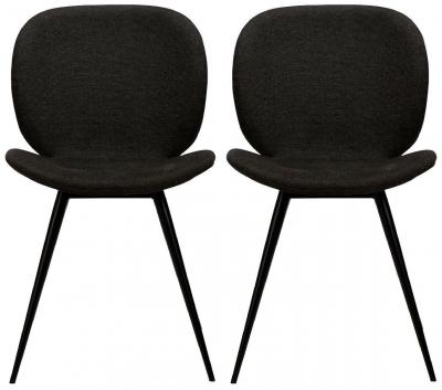 Dan Form Cloud Crow Black Fabric Dining Chair (Pair)