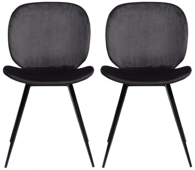 Dan Form Cloud Meteorite Black Velvet Dining Chair (Pair)