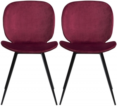 Dan Form Cloud Deep Ruby Velvet Fabric  Dining Chair with Black Legs (Pair)