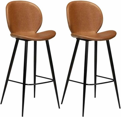 Dan Form Cloud Light Brown Faux Leather Bar Stool with Black Legs (Pair)