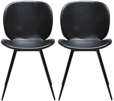 Dan Form Cloud Vintage  Black Faux Leather Dining Chair with Black Legs (Pair)