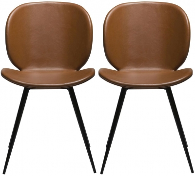 Dan Form Cloud Vintage Light Brown Faux Leather Dining Chair with Black Legs (Pair)