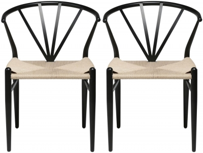 Dan Form Delta Black Metal Dining Chair with Natural Seat (Pair)