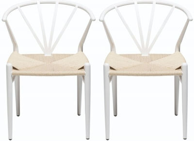Dan Form Delta White Metal Dining Chair with Natural Seat (Pair)