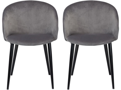 Dan Form Dual Aluminium Velvet Fabric Dining Chair with Black Legs (Pair)