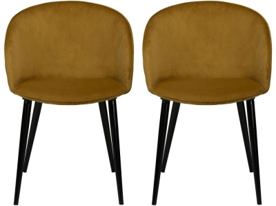 Dan Form Dual Bronze Velvet Fabric Dining Chair with Black Legs (Pair)
