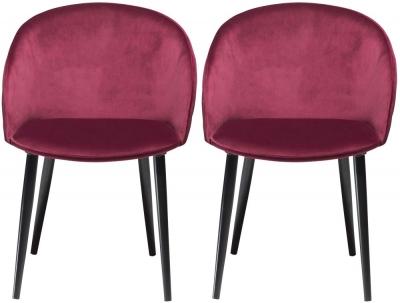Dan Form Dual Deep Ruby Velvet Fabric Dining Chair with Black Legs (Pair)