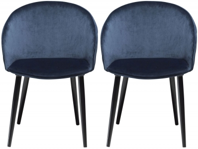 Dan Form Dual Midnight Blue Velvet Fabric Dining Chair with Black Legs (Pair)