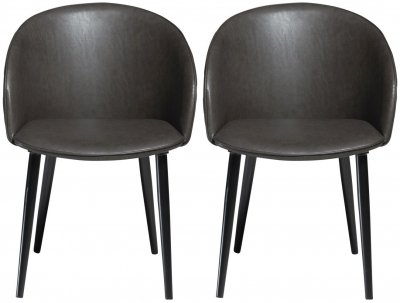 Dan Form Dual Vintage Grey Faux Leather Dining Chair with Black Legs (Pair)